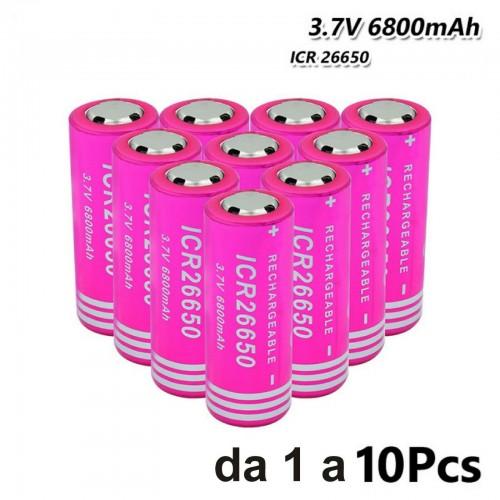 1 2 4 6 8 10 BATTERIE icr 26650 3.7V 6800 Mah per RICARICABILE PILE torcia led