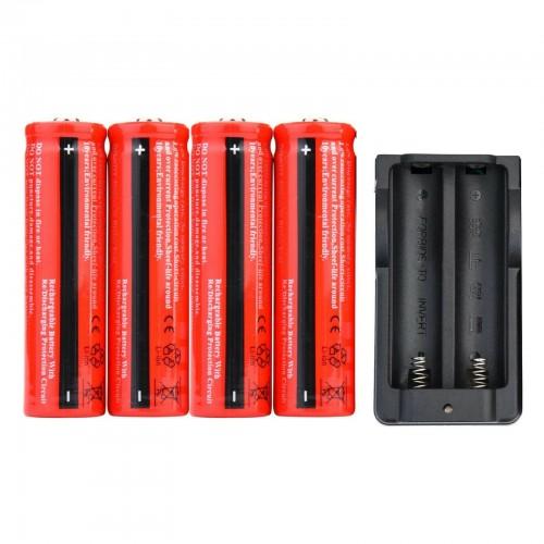1 caricabatteria + 4pz BATTERIE ricaricabili 18650 3.7V 4800Mah PILE avvitatore