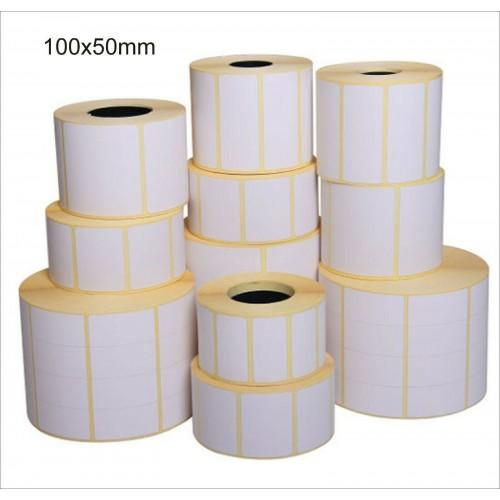 10 rotoli da 2500 ETICHETTE cad.100x50 TERMICHE ADESIVE PER STAMPANTI termiche