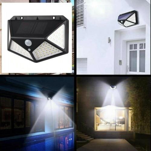 100 LED Lampada da parete a luce solare con sensore di movimento PIR per esterni