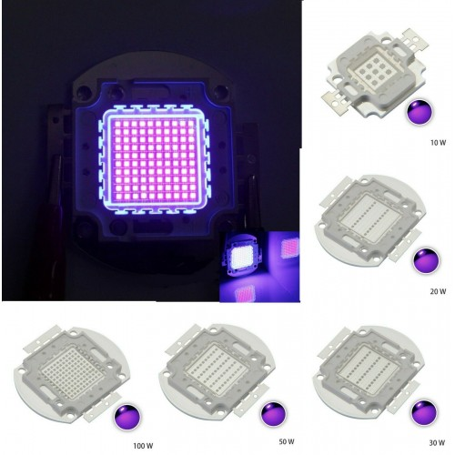 10W 20W 30W 50W 100W UV cob 405nm/3000mA/DC 30 V-34 V LED CHIP Ultravioletta