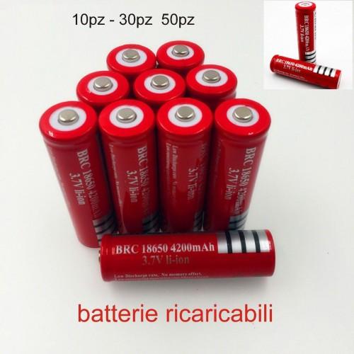10pz 30pz BATTERIA 18650 3.7V 4200Mah RICARICABILE PILE batterie AVVITATORE led