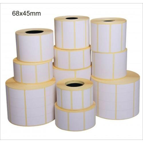 12 rotoli da 3000 ETICHETTE cad. 68x45 TERMICHE ADESIVE PER STAMPANTI termiche