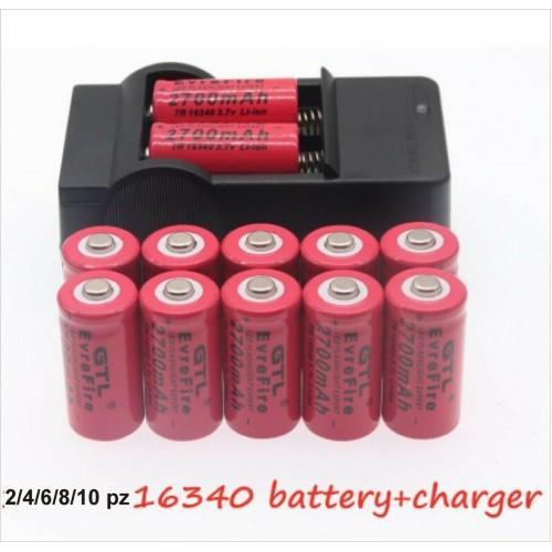 2 4 6 10 pz pile BATTERIE ricaricabili 16340 3.7V 2700 Mah + carica batterie