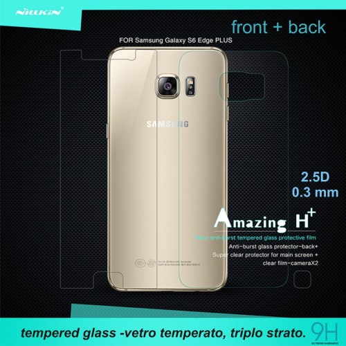 2 PELLICOLA front/back VETRO TEMPERATO tempered glass SAMSUNG GALAX s6 edge plus
