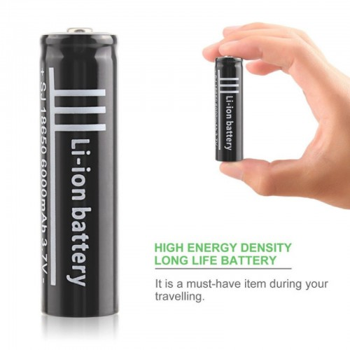 2 X BATTERIA 18650 3.7V 6000Mah RICARICABILE PILE TORCIA batterie AVVITATORE led