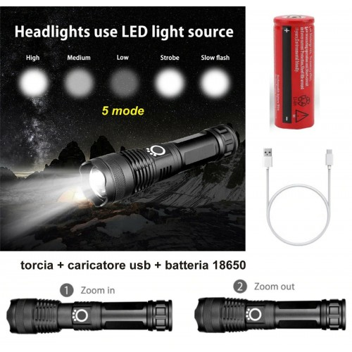 20000LM 5 mode LED Tattico Zoom Regolabile Ricaricabile Torcia Elettrica 18650