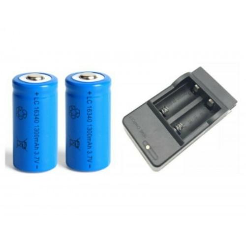 2/4/8 pezzi Batteria ricaricabile con caricabatterie 16340 1300mAh CR123A 3.7V