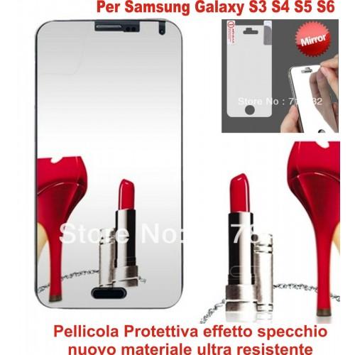 2PZ PELLICOLA PROTEGGI SCHERMO effetto specchio per Samsung Galaxy S3 S4 S5 S6