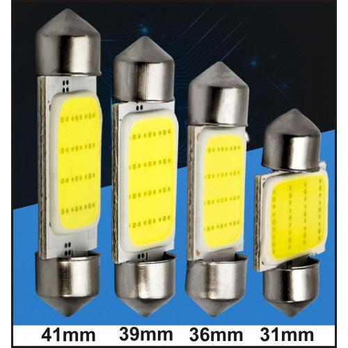 2Pz Lampadina cob led d'auto luce 12 chip xenon bianco DC12V 31mm 36mm 39mm 41mm