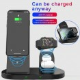 3 in 1 caricatore veloce QI Wireless docking station iPhone Android auricolari