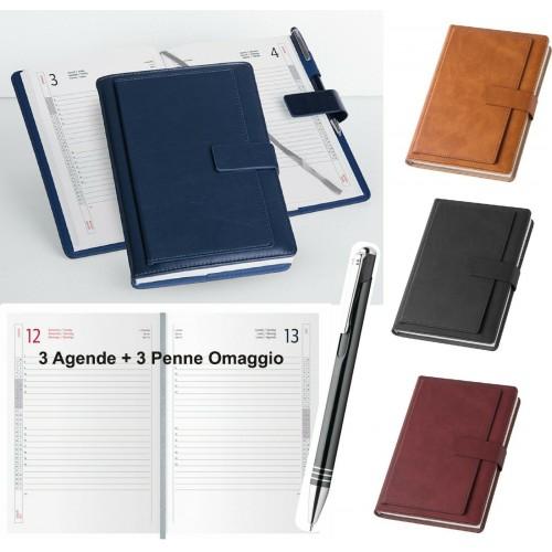 3PZ Agenda 2020 Giornaliera portafoglio lusso interno 17x24 con penna omaggio