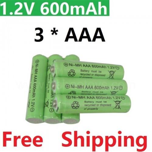 3PZ Batteria Ricaricabile pile AAA 600 mAh NI-MH 1.2V Qualità Rechargeable Batt