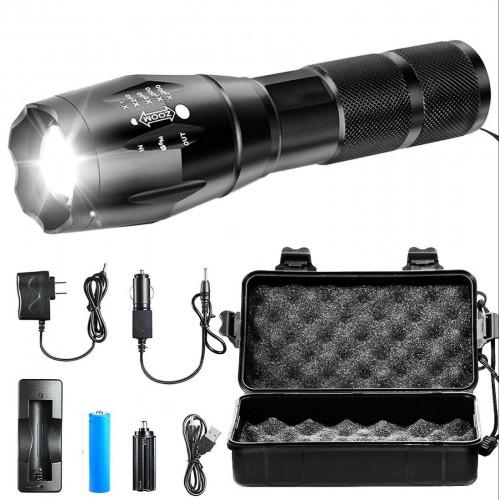 4000LM kit T6 LED Tattico Zoom Regolabile Ricaricabile Torcia Elettrica 18650
