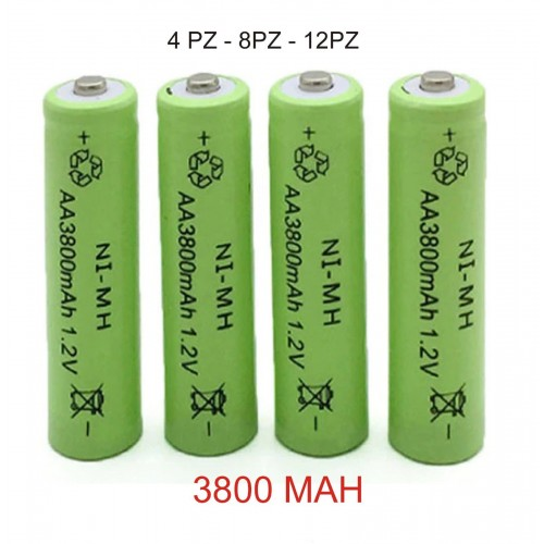 4PZ Batteria Ricaricabile pile AA 3800 mAh NI-MH 1.2V Qualità Rechargeable Batt