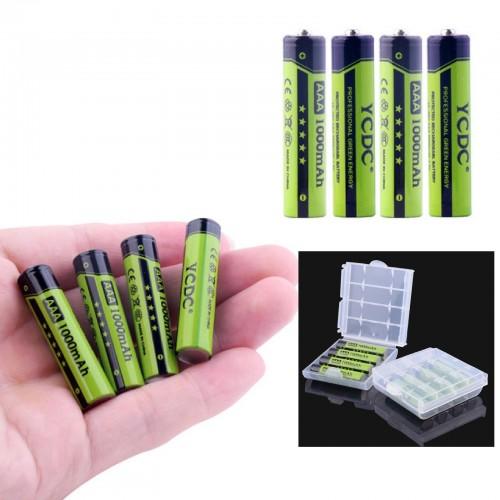 4PZ Batteria Ricaricabile pile AAA 1000 mAh NI-MH 1.2V Qualità Rechargeable Batt