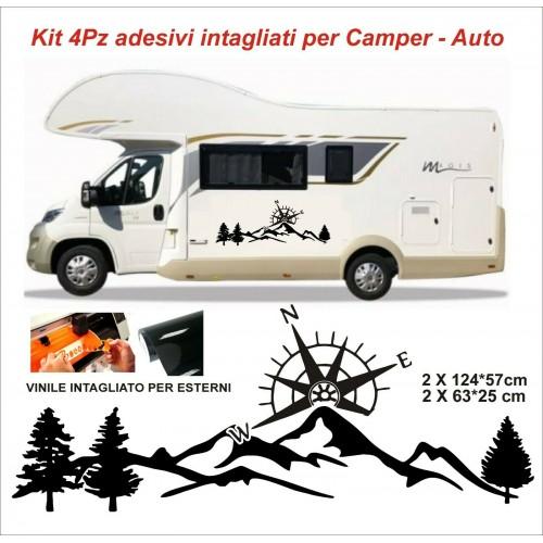 4Pz Adesivi Bussola montagne per camper roulotte e barche van vinile per esterni