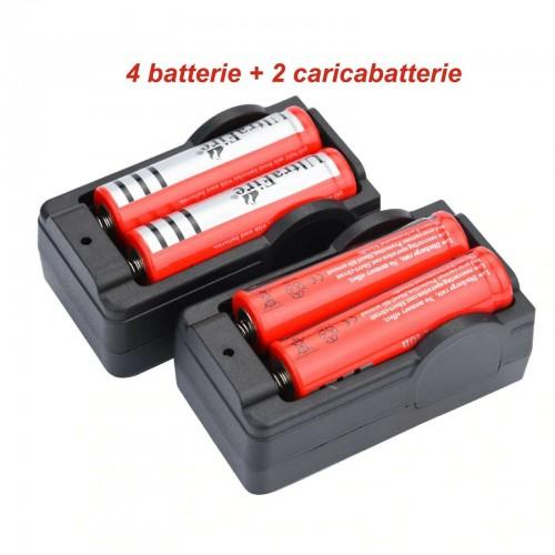 4pz BATTERIE ricaricabili 3.7V 4800Mah PILE TORCIA avvitator +2pz caricabatterie