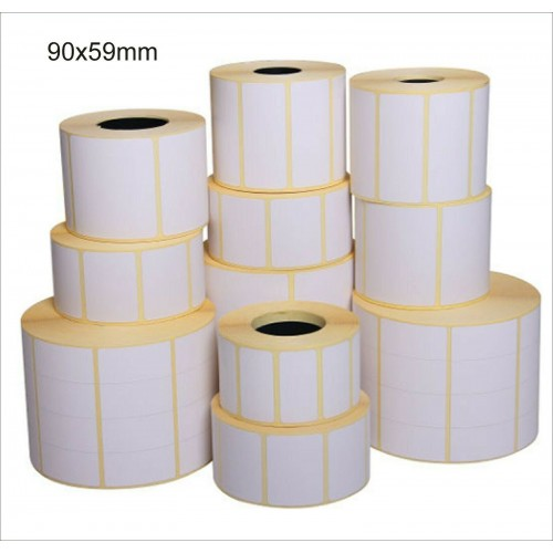 5 rotoli da 2500 ETICHETTE cad. 90x59 TERMICHE ADESIVE PER STAMPANTI termiche