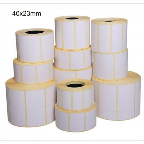 5 rotoli da 3000 ETICHETTE cad. 40x23 TERMICHE ADESIVE PER STAMPANTI termiche