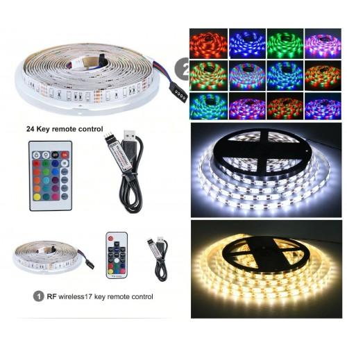 5V 24V USB LED Strip lampada RGB 60LEDS 1M 2M 3M 4M 5M diodo nastro telecomando