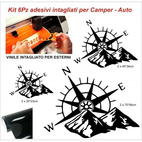 6Pz Adesivi Bussola per camper  roulotte furgoni van e barche vinile per esterni