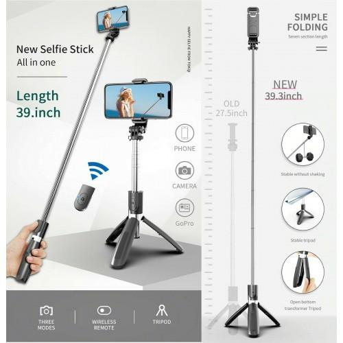 All in one Asta treppiede con telecomando per selfie bluetooth per smartphone