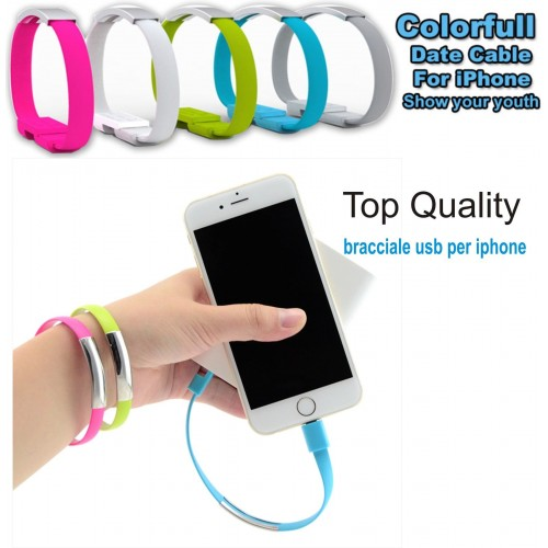BRACCIALE CAVO DATI USB PER IPHONE 5 6 plus SYNC CARICA IPAD 4 IOS  IPOD 7th