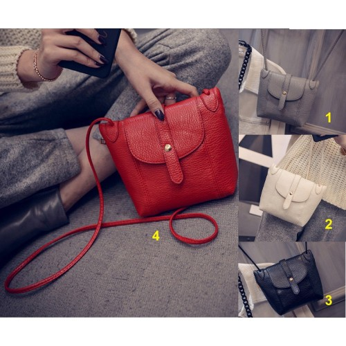 Borsa a tracolla borsello clip sacchetto in cuoio elegante compatta moda Fashion