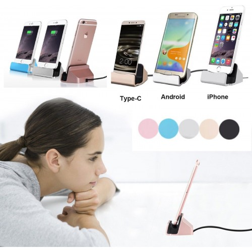 CARICABATTERIA DA TAVOLO dock station per Apple Iphone Android Type C samsung LG