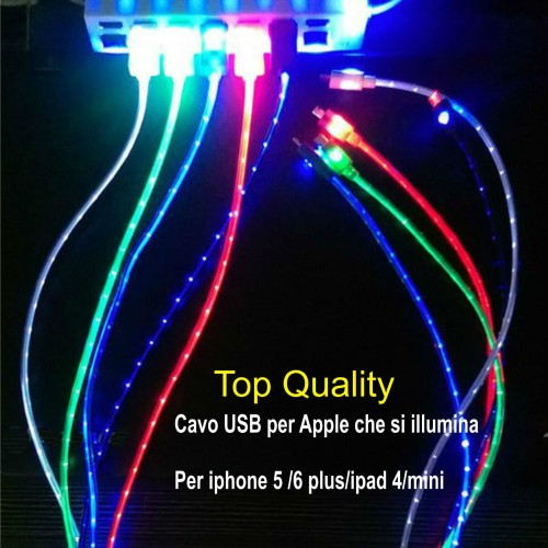 CAVO DATI USB led per IPHONE 5 6 plus SYNC CARICA IPAD 4 IPOD 7thgen lightning
