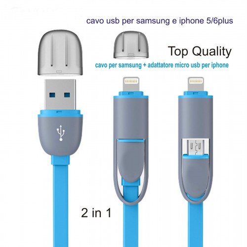 CAVO DATI USB per samsung micro usb IPHONE 5 6 plus SYNC CARICA IPAD 4 IPOD 7th