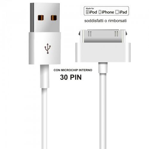 CAVO dati USB 30PIN per Apple 3G/3S carica iPhone 4/4S iPad 2/3 iPod ricarica PC