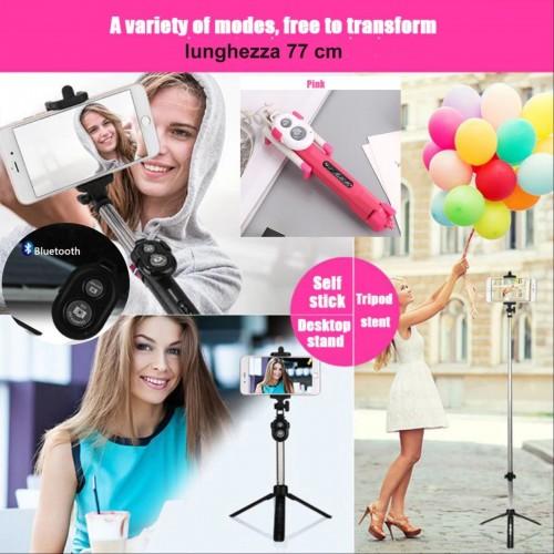 CONTROLLO REMOTO Selfie STICK Asta 77 cm BLUETOOTH treppiede per SMARTPHONE