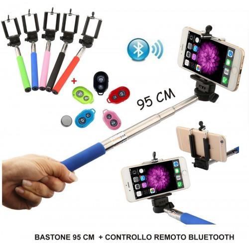 CONTROLLO REMOTO Selfie STICK Asta BLUETOOTH ESTENSIBILE 95 CM per SMARTPHONE