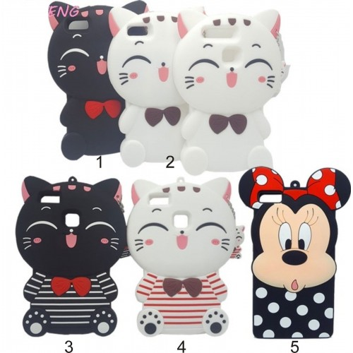 COVER CUSTODIA CASE silicone 3D minnie cat per HUAWEI P8 P9 P10 lite Plus