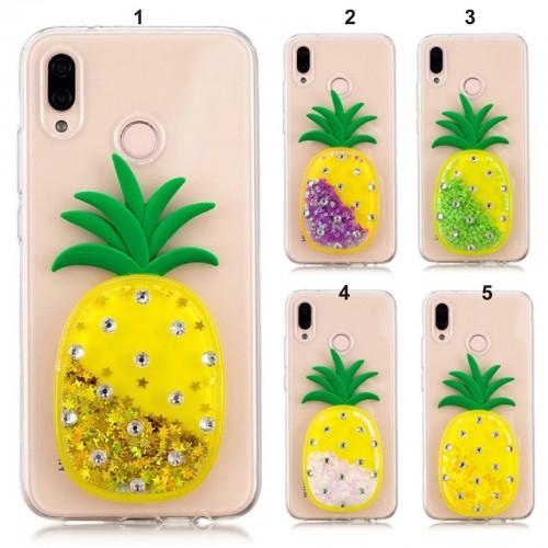 COVER CUSTODIA CASE silicone ananas glitter strass per HUAWEI P20 lite Pro nova