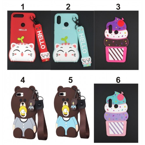COVER CUSTODIA CASE silicone orso teddy gatto kitty ice per HUAWEI P20 & lite