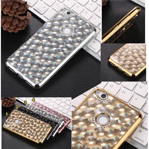COVER CUSTODIA CASE silicone strass diamante per HUAWEI P8 P9 P10 honor 8 lite
