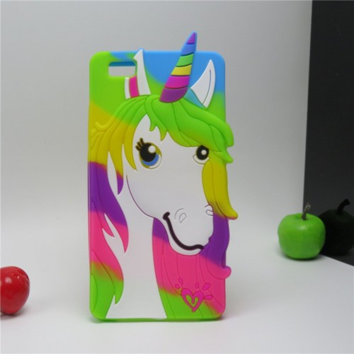 COVER CUSTODIA CASE silicone unicorno cartoon 3D per HUAWEI ASCEND P8 lite