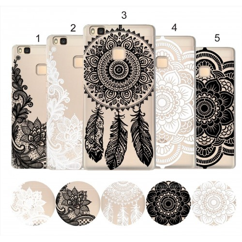 COVER CUSTODIA case silicone fiori damasco hennè luxury per HUAWEI Y3 Y5 Y7 2017