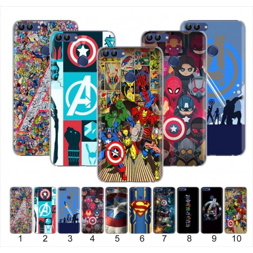 COVER CUSTODIA ironman supereroi spiderman per HUAWE Y5 Y6 Y7 Y9prime 2017 2018