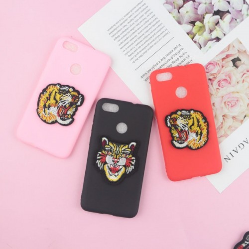 COVER CUSTODIA silicone 3d effetto ricamo tiger per LG X power 2 Style screen