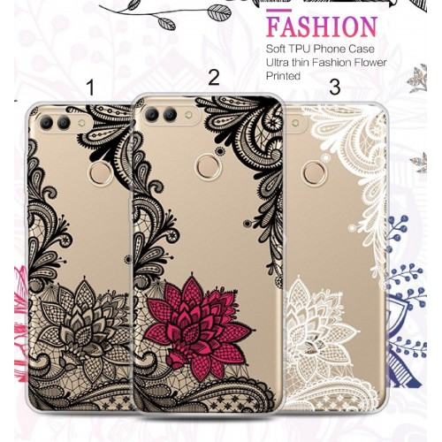 COVER CUSTODIA silicone fiori fashion soft per HUAWEI Y3 Y5 Y6 pro  Y9 2017 2018
