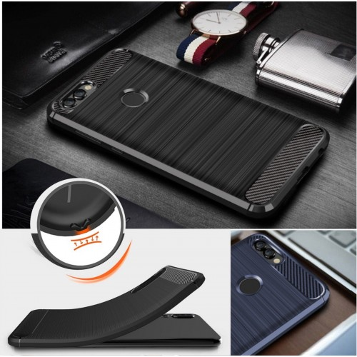 COVER CUSTODIA silicone in fibra di carbonio per HUAWEI P smart 5.65