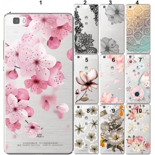 COVER CUSTODIA soft fiori sexy per HUAWEI P8 P9 P10 P20 lite mate Y3 Y5 Y6 Y7