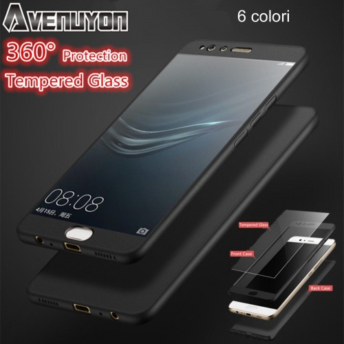 COVER CUSTODIA + tempered glass protector 360° per HUAWEI P8 P9 P10 lite 2017