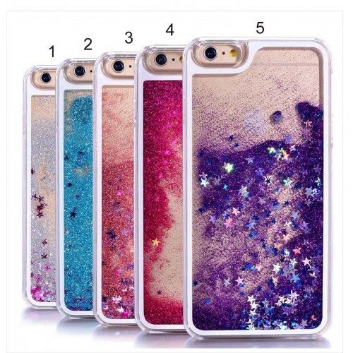 COVER Custodia CASE con liquido glitter bling per apple iphone 4 5 6 7 8 Plus X
