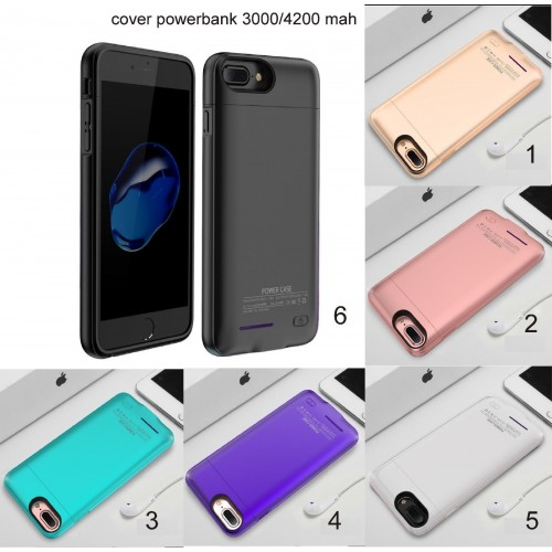 COVER Custodia CASE powerbank batteria 3000/4200 mah per apple iphone 6 7 8 Plus