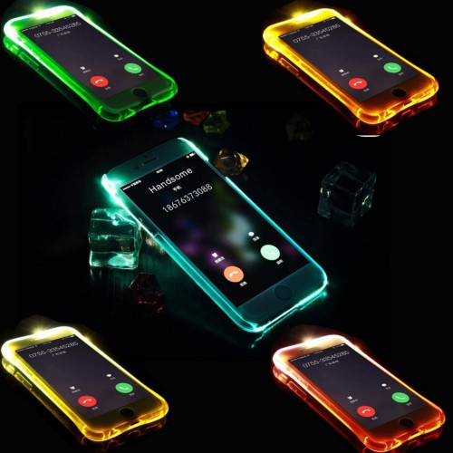 COVER Custodia CASE silicone led flash e si illumina per iphone 5 6 7 S 8 plus X